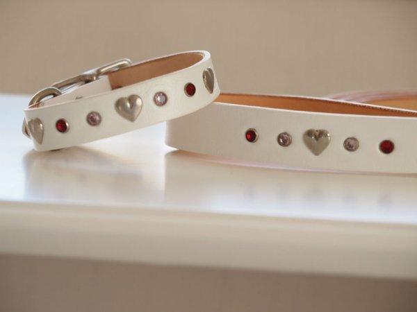 画像1: レザー首輪とリードセット販売 ホワイト (1)