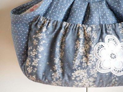 画像1: キャリーバッグ タンガリードット&お花ボーダー
