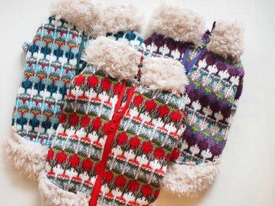 画像1: ざっくり手編み風&ボアセーター