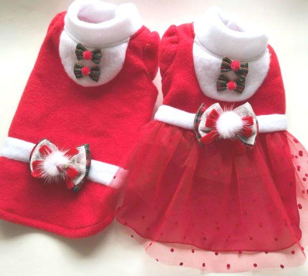 画像1: クリスマス フリース&チュールレースワンピース、スエットタイプ (1)
