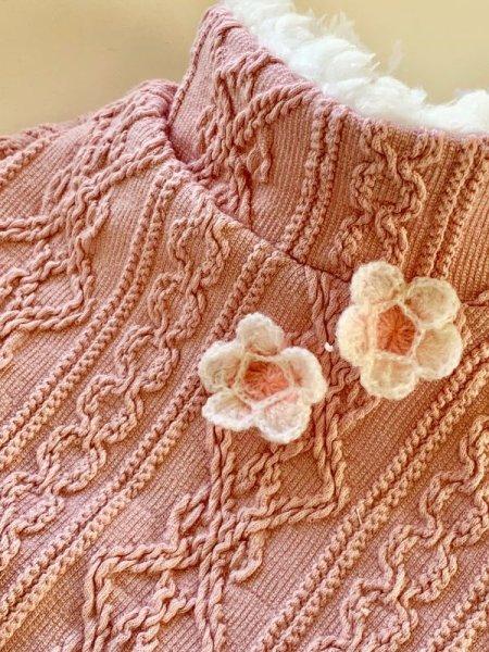 画像1: ピンクアランニットセーター (1)