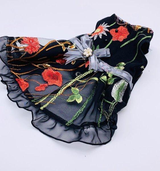 画像1: シック  黒シフォン&ゴージャス刺繍ワンピース (1)