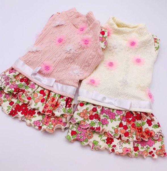 画像1: アランニット&赤ピンクお花ワンピース (1)