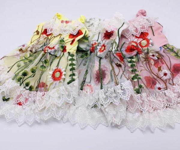 画像1: 花畑刺繍&チュールレースワンピース (1)
