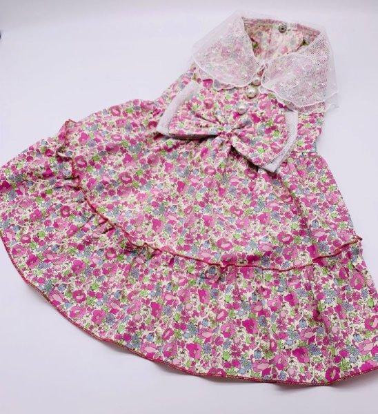 画像1: ピンクお花柄ワンピース (1)