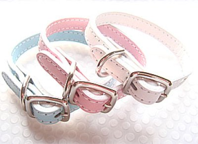 画像1: 革首輪 パステル&真珠風ビーズかざり