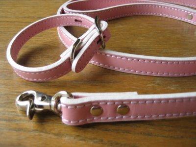 画像1: 革首輪・リード パステルカラー(ピンク、ブルー、ホワイト)