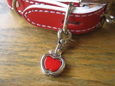 画像2: 革首輪・リード 赤