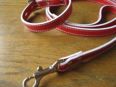 画像1: 革首輪・リード 赤