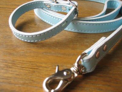 画像2: 革首輪・リード パステルカラー(ピンク、ブルー、ホワイト)